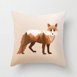 Fox Vixen Red Double Exposure Surreal Wildlife Native Animal Throw Pillow
