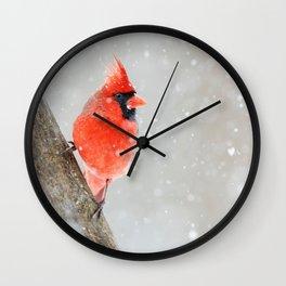 Male Northern Cardinal Wall Clock