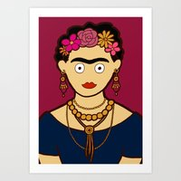 frida kahlo Art Prints featuring Frida Kahlo by evannave