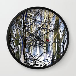 Red Bird In Winter Wall Clock