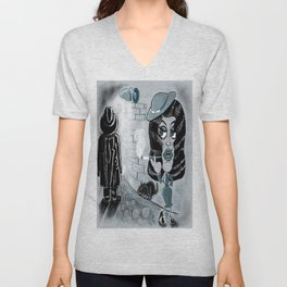 Femme Fatale and the Unknown Man, film noir Unisex V-Neck
