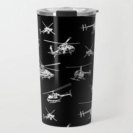 Helicopters on Black Travel Mug