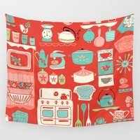 kitchen Wall Tapestries featuring Pretty Kitchen by Heather Rosas