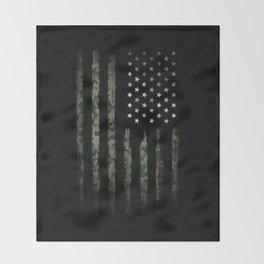 Khaki american flag Throw Blanket