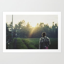 Watching the sunrise, Bali Art Print