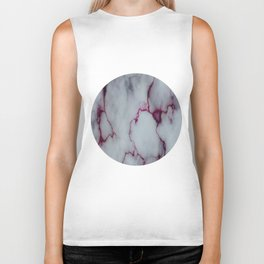 White with Maroon Marbling Biker Tank