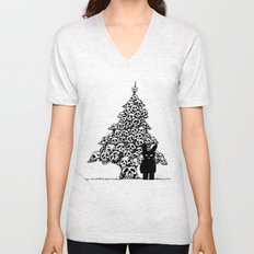 The Black Bunny of Doom and his Skull Christmas tree Unisex V-Neck