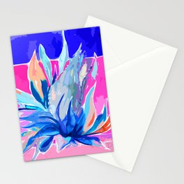 Agave From Toledo, Spain Abstract, Blue and Hot Pink Bright Stationery Cards