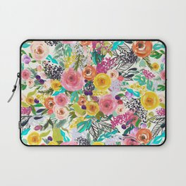 Vibrant Autumn Floral with Turquoise Laptop Sleeve