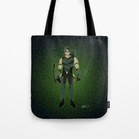 green arrow Tote Bags featuring Green Arrow by The Vector Studio