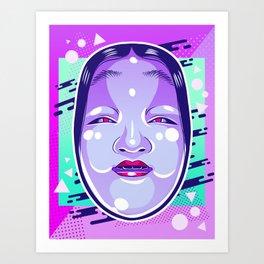 Neon Noh - Wakaonna Art Print