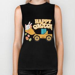 Happy Easter Tractor Gift Boys Kids Biker Tank