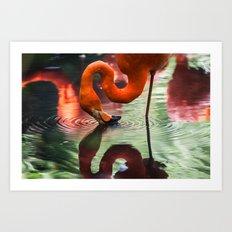 Tropical Flamingo Kiss Art Print