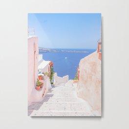 Santorini Greece Mamma Mia Pink Street Metal Print