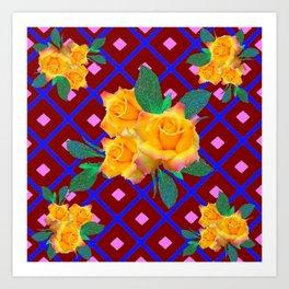 Triple Golden Rose Bouquet Purple-Blue Art Art Print