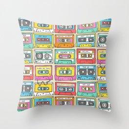 Nostalgia Audio Music Mix Cassette Tape Throw Pillow