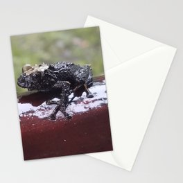 OH!  IT'S A FLIPPIN FROG ON WOOD! Stationery Cards
