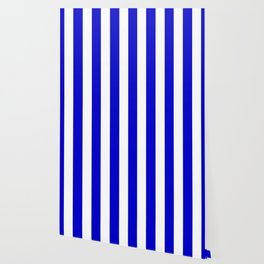 Medium blue - solid color - white vertical lines pattern Wallpaper