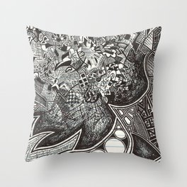 Red, Black, White, And Deja Throw Pillow