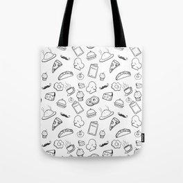 Food Food Black & White Tote Bag