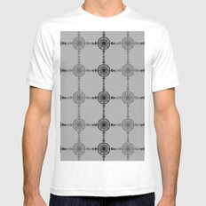 Black and White  MEDIUM White Mens Fitted Tee
