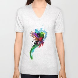 Watercolor Quetzal  Unisex V-Neck