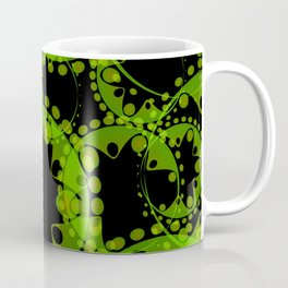 Spring pastel green circles and ellipses depicting abstract flowers on a black background. Coffee Mug