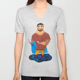 Paul Bunyan and Babe Unisex V-Neck