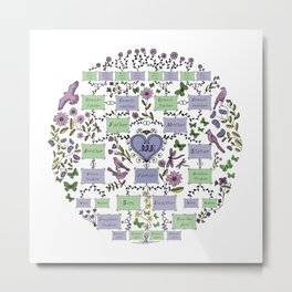 Illustrated Family Tree, colored lilac, Genealogical Illustration of Ancestrors and Descendants Metal Print