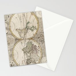 Vintage Map of The World (1687) Stationery Cards