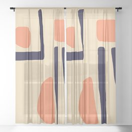 Coral and Blue Sheer Curtain