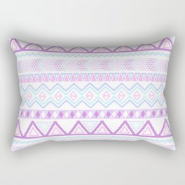 Bright Aztec Andes Pattern Pink Teal Geometrical Rectangular Pillow