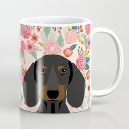 Dachshund florals cute pet gifts black and tan dachshund gifts for dog lover with weener dog Coffee Mug