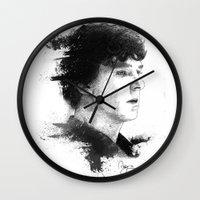 sherlock holmes Wall Clocks featuring Sherlock Holmes by addigni