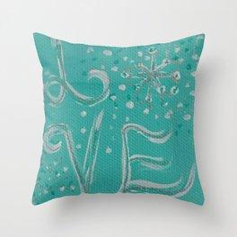 Teal Love Snowflake Throw Pillow