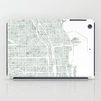 chicago map iPad Cases featuring Map Chicago city watercolor map by Anne E. McGraw
