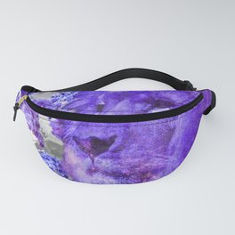 LION AND ORCHIDS  PURPLE AND BLUE FANTASY DREAM Fanny Pack