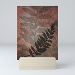 Pantone Living Coral Abstract Grunge with Fern Leaf - Foliage Silhouettes Mini Art Print