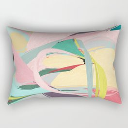 Shapes and Layers no.23 - Abstract Draper pink, green, blue, yellow Rectangular Pillow