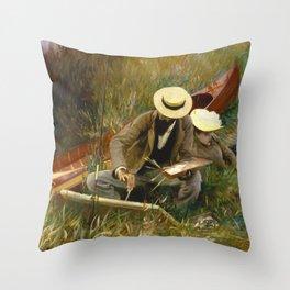 An Out of Doors Study by John Singer Sargent (1889) Throw Pillow