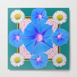 Blue Morning Glories & Shasta Daisies Teal Art Metal Print