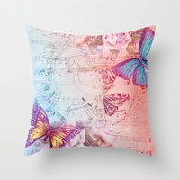butterflies Throw Pillows featuring butterflies by haroulita
