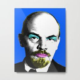 Ooh Mr Lenin - Blue Metal Print