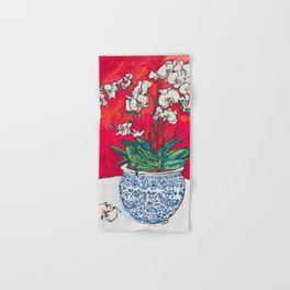 Orchid in Chinoiserie Bird Pot on Pink, Coral and Red Background Floral Still Life Painting Matisse Hand & Bath Towel