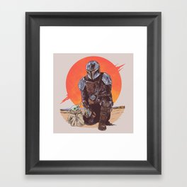 """""""The Mandalorian and The Child"""" by Hillary White Framed Art Print"""
