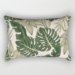 Fashionable seamless tropical pattern with bright plants and leaves on a pastel background. Beautiful seamless vector floral pattern. Exotic jungle wallpaper. Rectangular Pillow