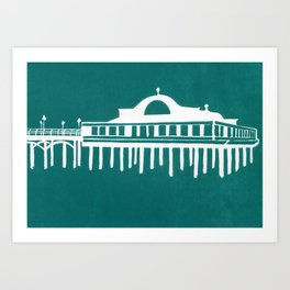 Seaside Pier in Turquoise Art Print