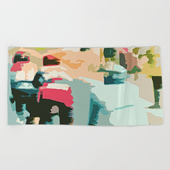 tete de la course   Beach Towel