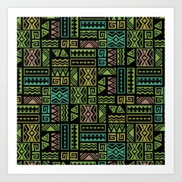 Polynesian Geometric Tapa Cloth - Black Art Print