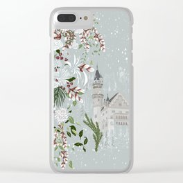 White roses and winter Castle love Clear iPhone Case